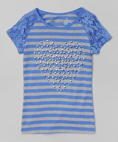 Look what I found on #zulily! Periwinkle Stripe Jeweled Heart Tee - Toddler & Girls #zulilyfinds
