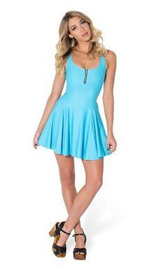 BLACK MILK MATTE LIGHT BLUE EVIL ZIP DRESS #blackmilk #zip #dress