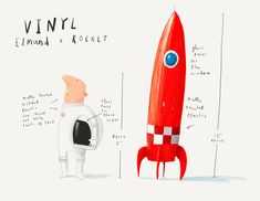Originally from Oliver Jeffers Stuff Colette launch. Vinyl Edmund and Rocket sold as a set in custom packaging. Based on artwork from the book Once Upon an Alphabet.