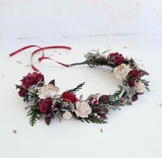 Beige burgundy flower crown greenery Bridal floral crown | Etsy Diy Flower Crown, Floral Crown, Rustic Flowers, Dried Flowers, Forest Wedding, Rustic Wedding, Flower Headpiece Wedding, Wedding Hair, Floral Wedding