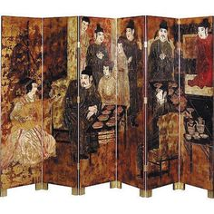 Antique Style Asian Feast  6 Panel Dressing  Screen Room Divider,72'' x 82''H.