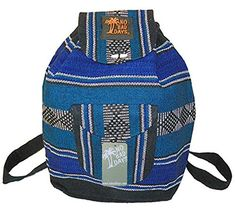Baja Backpack Ethnic Woven Mexican Bag  Turquoise Black White  Medium * Continue to the product at the image link.
