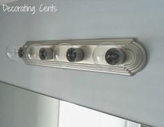Decorating Cents: Spray Painted Bathroom Light