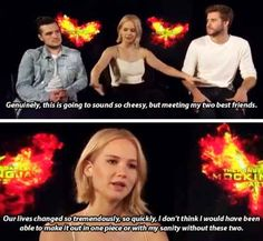 Jennifer going on and on about how much they actually love each other: Jennifer Lawrence, Josh Hutcherson, And Liam Hemsworth Prove True Friendship Love Exists The Hunger Games, Hunger Games Fandom, Hunger Games Trilogy, Jennifer Lawrence Funny, Jennifer Lawrence Hunger Games, Jenifer Lawrence, Guy Friendship Quotes, Friendship Love, Bff Quotes