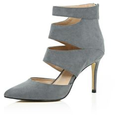 River Island Grey cut out heels ($120) ❤ liked on Polyvore featuring shoes, pumps, grey, shoes / boots, women, river island, river island shoes, zipper shoes, cutout shoes y cutout pumps