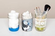 Store Your Makeup In One of These Embellished Jars! – Olivia Biederman Store Your Makeup In One of These Embellished Jars! DIY glass jar embellishments- Store Your Makeup In One of These Embellished Jars! Diy Makeup Storage Jars, Makeup Jars, Makeup Brushes, Wood Storage Box, Jar Storage, Storage Ideas, Storage Solutions, Mason Jar Crafts, Mason Jars