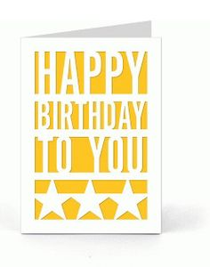 #HappyBirthday To You , #PaperCut #Card , #Stars , #Men , #Women , #Teens , #Kids , #Gift , Blank Inside , Free confetti by PatchyPeanut on Etsy