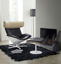 Fauteuil design scandinave / en cuir / avec repose-tête / avec repose-pieds ALMORA by Doshi Levien B&B Italia