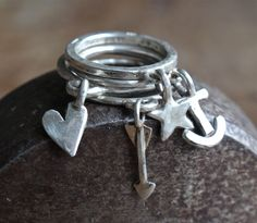 HEART ARROW STAR ANCHOR FEATHER MOON DRAGONFLY ANGEL CROSS dangling stack RING