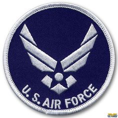The USAF Wings Logo Patch is a round patch, diameter, with the modern day United States Air force logo. Navy Blue with white logo, letters, and border. Bronco Ii, Post War Era, Star Trek Images, Wings Logo, Nose Art, Aviation Art, World War I, Jets, Planes