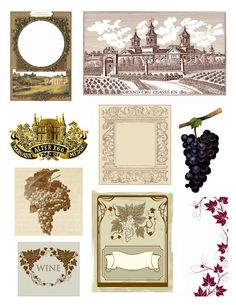 Free collage stuff for wine lovers. Check back often for new wine inspired printables at http://www.wineandcork.blogspot.com/p/diy.html#printables