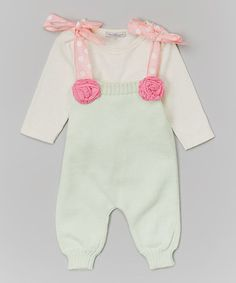 This Light Green Romper & Off-White Bodysuit - Infant & Toddler is perfect! #zulilyfinds