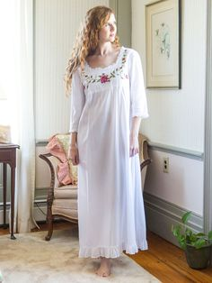 The Beatrice nighty is made in our incomparable, 100% skin soft cotton and is basically the most comfortable, breathable fabric to ever touch your body while you sleep. Scrolling floral embroidery meanders on a bodice adorned by pin-tuck detail with attached scissor cut butter cotton at sleeves, and trimming the neckline.
