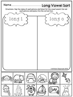 These long vowel picture sorts are a perfect practice or assessment opportunity for students to listen for long vowel sounds in words. With these printables, students will state the picture name and sort the picture according to the vowel sound. A full-color sort is included for teachers to model in a whole or small group setting.