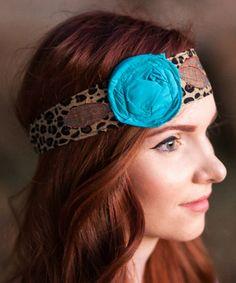 Look at this #zulilyfind! Brown & Turquoise Rosette Wrap Headband by Vintage Rose Wraps #zulilyfinds