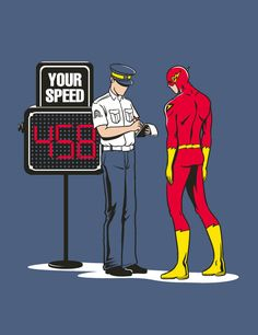 The Flash gets a ticket.... LOL. Hilarious Illustrations of Chow Hon Lam #cartoon #comic_book #super_hero #humor