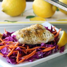"""Spring is in the air with this colorful and fresh @sizzlefishfit Sable Fish dish from @primaldish! Barb baked a piece of our @sizzlefishfit Sable Fish with @omgheebutter and @flavorgod lemon garlic. She served it over a simple slaw made with carrots, purple cabbage and a dressing of @kasandrinos, ACV and lemon juice. Simple and light! _______________________________ ‼️You can find all of our perfectly portioned fish packages on our website: www.sizzlefish.com‼️…"