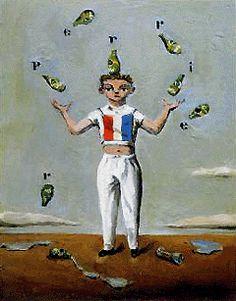 金子國義 フランス万歳 油彩・キャンバス 227×158mm