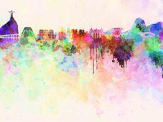 Rio de Janeiro skyline in watercolor background SKU by Paulrommer