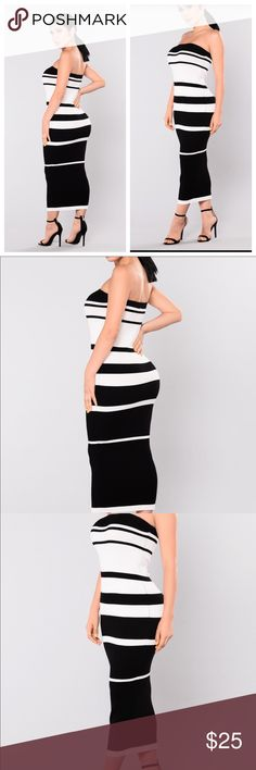 💃Black and white Striped Dress🔥XL/1X Very Well made Tube dress style dress. The fabric can best be described as a stretchy knit. This dress is versatile, and can be worn to work with nice blazer, or to the club without blazer👍🏿 it's always nice to have style options. The tag states XL, but could easily fit 1X as well. Fashion Nova Dresses Midi