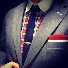 Gant Rugger shirt and jacket - Thom Browne tie - vintage tie bar - Paul Smith pocket square