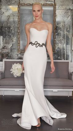 romona keveza fall 2016 luxe bridal strapless semi sweetheart neckline elegant chic simple sheath wedding dress rk6463