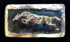 Horse jumping belt buckle in sterling silver by marcela Ganly Show Jumping, Belt Buckles, Sculpture Art, Horse, Bronze, Sterling Silver, Hunter Jumper, Belt Buckle, Horses