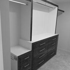 Walnut drawer bank, w\ mitred waterfall end, Walk-in Wardrobe Walk In Wardrobe, Drawers, Waterfall, Vanity, Bathroom, Projects, Built In Wardrobe, Dressing Tables, Washroom