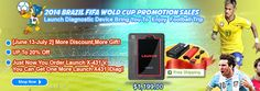 2014 Brazil FIFA World CUP Promotion Sales http://www.autointhebox.com/ #obd2 #world #worldcup Launch Diagnostic Device Bring you an energetic football trip *Between June 13 --July2 , Chances for you to get More discount and more Gift *Up to 20% Off *Get one more Launch X431 Idiag , while ordering the Launch X431 V http://www.autointhebox.com/original-launch-x431-v-pro-scanpad-071-for-android-obd2-obdii-diagnostic-scanner_p2136.html