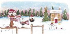 Waiting... $12.50 Original watercolor painting art illustration mouse bird crow winter scene house #Folkartillustration