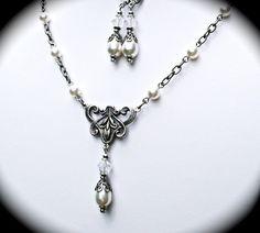 Wedding Jewelry Set Victorian Pearl Bridal by AzureTreasures, $55.00