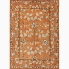 $553.99 (A STEAL!!) Handmade Arts and Craft Pattern Orange/ Green Wool Rug (8 x 10)