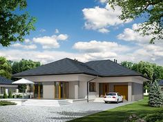 Projekt domu Neptun 6 Affordable House Plans, Home Design 2017, Wooden Greenhouses, Tiny House Exterior, Bungalow House Design, Relaxation Room, Ranch Style Homes, Design Case, Apartment Design