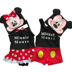 Newborn Baby Swimsuits Summer Cute Micky Minnie Mouse Print Girl Bathing Suit Infant Swimwear Baby Suits Market