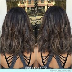 Medium lob with waves and caramel ash brunette haircolor!! Check out now!!