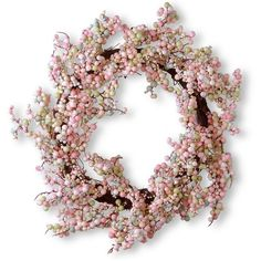 """National Tree Company 16"""" Artificial Pink Berry Wreath ($56) ❤ liked on Polyvore featuring home, home decor, floral decor, wreaths, pink, handmade wreaths, handmade home decor, berry wreath, pink home decor and artificial wreaths"""