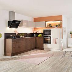 Eckküche Eichenfarbe und Schwarz online entdecken Kitchen Cabinets, Home Decor, Workbench Top, Drawers, Oak Tree, Ad Home, Colors, Black, Interior Design