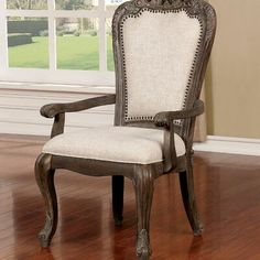 Furniture of America Yazd Traditional Grey Armchairs Set of Gray Solid Wood Dining Chairs, Dining Arm Chair, Upholstered Dining Chairs, Dining Room, Traditional Dining Chairs, Grey Armchair, Upholstery Foam, Steel Furniture, Furniture Chairs