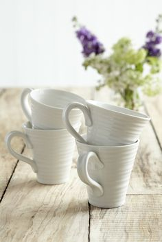 White Ceramic Mugs - Set of Four - Mother's Day