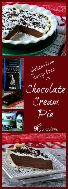 Gluten Free Chocolate Cream Pie will cool off any hot summer day, deliciously! gluten-free dairy-free vegan options given |gfJules
