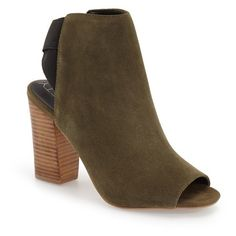 """Sole Society 'Dakota' Peep Toe Bootie, 3 1/2"""" heel (2.245 CZK) ❤ liked on Polyvore featuring shoes, boots, ankle booties, ankle boots, olive suede, wide ankle boots, olive green suede booties, suede bootie and high heel boots"""