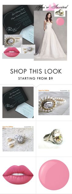 """You're Invited To My Wedding"" by clschmauder ❤ liked on Polyvore featuring Vera Wang, Lime Crime, Essie, dresses, jewelry, make and women"