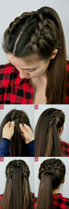 Here's a cute and simple braided ponytail! Seerat brar hairstyles Here's a cute and simple braided ponytail! Seerat brar Here's a cute and simple braided ponytail! Here's a cute and simple braided ponytail! Braided Hairstyles Tutorials, Dutch Braid Tutorials, Ponytail Hairstyles Tutorial, Hairstyle Ideas, Hair Tutorial Braid, French Braided Hairstyles, Long Hair Tutorials, High Ponytail Tutorial, Hair Ponytail Styles