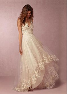 Fabulous Tulle & Lace V-neck Neckline A-line Wedding Dresses with Lace Appliques