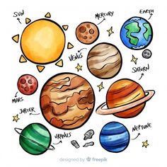 Planet Sketch, Planet Drawing, Solar System Art, Solar System Planets, Drawing Of Solar System, Drawing For Kids, Art For Kids, Space Doodles, Kids Room Wall Decals