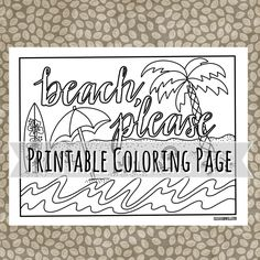 Beach Please - printable coloring page available at cristinapril.com