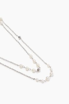 Esprit / Kaksirivinen ketju metallia ja helmiä Pearl Necklace, Pearls, Silver, Jewelry, String Of Pearls, Jewlery, Beaded Necklace, Money, Bijoux