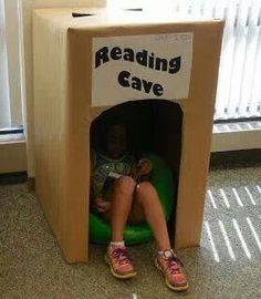Make reading caves/tents with cardboard boxes for display, but what if we also used them as doorprizes for kids and/or teachers to giveaway at the end of bookfair?