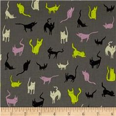 Cotton & Steel Spellbound Cats Charcoal