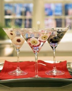 Lychee and Grape Eyeball Martinis - Turn lychees and grapes into eerie eyeballs for Halloween martinis.